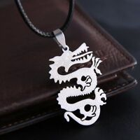 Men's Jewelry Gift Silver Stainless Steel Punk Pendant Necklace Leather Chain