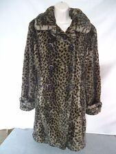 PELLE STUDIO Black Leopard Print Faux Fur coat size Small  Button Down