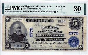 Chippewa Falls, Wisconsin  Lumbermens NB  $5 1902 PB  CH# 3778  PMG 30