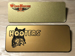 2 HOOTERS & WINGHOUSE Uniform Costume Collectible Engrave YOUR NAME TAG GOLD