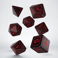 Negro & rojo set de dados RÚNICOS por Q-workshop para juegos de rol