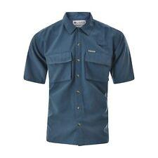 COLUMBIA Mens Casual Shirt Size M medium Short Sleeve Side Pockets Blue Genuine