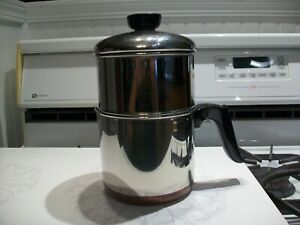1801 Revere Ware 4 Cup Drip O Later Coffee Pot Copper Bottom Double Circle