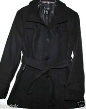 Nicole Miller NWT Charcoal Gray Synthetic Wool Short Trench Coat w/ Belt