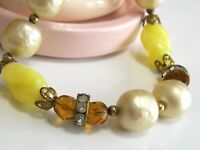 VINTAGE HASKELL TYPE BAROQUE PEARL ART GLASS BEAD RHINESTONE RONDELLES NECKLACE