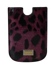NEW DOLCE & GABBANA Phone Case Purple Leopard Pattern Leather 11.5cm x 8cm
