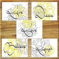 Gray Yellow Wall Art Print Live Laugh Love Flower Floral Bedroom Nursery Kitchen