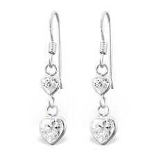 Plata Esterlina 925 De Calidad Colgante Pendientes-Transparente CZ Corazón Doble