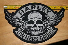 "HARLEY DAVIDSON OWNERS GROUP HOG LARGE 10 1/2"" x 7 1/4"" WINGED SKULL Patch HD MC"