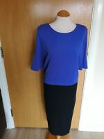 Ladies Dress Size 20 Black Blue Overlay Smart Office Work Day Party