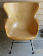 LAWRENCE PEABODY MCM DESIGN SELIG BUTTERSCOTCH FIBERGLASS WINGBACK CHAIR 1950's