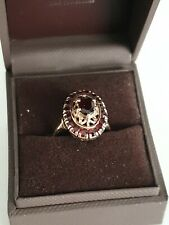 Womens 9ct Yellow Gold Diamond And Ruby Cluster Ring Size N (4.67g)