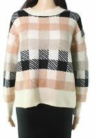 Dreamers Womens Sweater Pink Ivory Size Large L Patchwork Crewneck $50 794