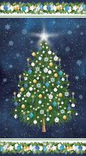 O CHRISTMAS TREE~NORTHCOTT PANEL~DECORATIONS ORNAMENTS ON BLUE SNOW~22259-49