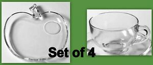 Hazel Atlas Apple Orchard Pattern Set of 4 Milk Glass Luncheon Snack Trays and Cups Plates