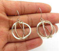 925 Sterling Silver - Vintage Shiny Cage Designed Dangle Earrings - E6949