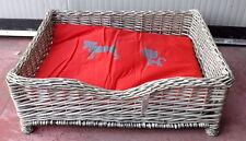 Cuccia in vimini per CANE e GATTO rattan naturale completa di cuscino cm76x60x27