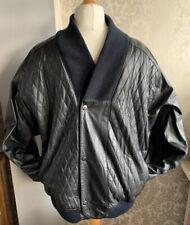 Mens Vintage Genuine Leather Black Bomber Jacket, Sz Large, Stud Fastening