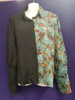 NEW Women Fashion Long Sleeve Collared Chains & Wheels Blouse Top Size 14 XL