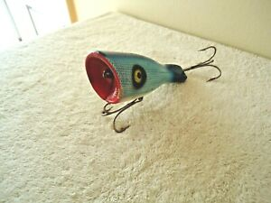 """Vintage Blue & White & Red Mouth Top Water Salt Water ? Lure """" RARE COLLECTIBLE"""