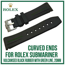Black & Green Curved End Rubber Silicone Watch Strap, Exact Fit Rolex Submariner