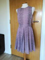 Ladies FRENCH CONNECTION Dress Size 10 Pink Snakeskin Print Skater Party Evening