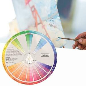 Pocket Size Color Wheel Paper Card Paint Mixed Learning Guide Artist Chart Wheel