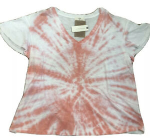 NWT $58 Anthropologie T.la Ophelia flutter Sleeve Pink Tie Dye Tee Small Medium