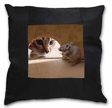 Cat and Mouse Black Border Satin Feel Cushion Cover With Pillow Inser, AMO-3-CSB