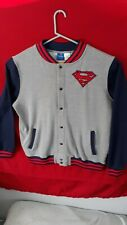 Superman Size L XL Button Up Jacket DC Comics Gray Black Red EUC