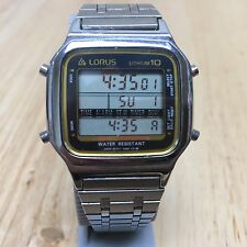 Vintage Lorus W041 By Seiko Mens Steel LCD Alarm Chrono Watch Hours~New Battery