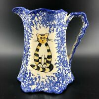 Vintage Studio Art Pottery Pitcher Creamer Blue White Sponge Ware Cat Kitten