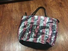 Victoria's Secret Black Friday 2015 Sequin Bling Stripes Tote Bag Travel Pink