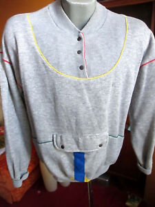 XS X-SMALL True Vtg 80s RAYON BLEND HEATHER GRAY PIPED NEW WAVE Sweat T-Shirt