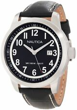Nautica Men's N13604G Classic Analog Date Watch - Black Dial Black Leather Band
