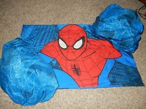 9A Marvel SPIDER-MAN Twin Sheet Set Flat Fitted Pillow Case {Microfiber Fabric}