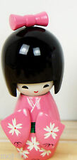 Handmade Cute Japanese Creative Kokeshi Wooden Doll Girl 9cm - Pink