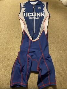 Men's Uconn Huskies Triathlon Tri Suit Skinsuit Speedsuit Cycling Small S $150