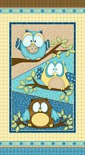 Whoo Me? Shelly Comiskey Quilt Fabric  Boy Blue  Owl Panel  6278p-11