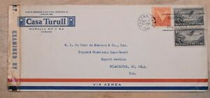 Mayfaristamps Habana 1944 Censored Casa Turull Airmail to Wilmington DE WWII Cov