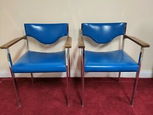 Vintage Harter Lubke Chairs Chrome Frame Wood Blue Faux Leather 70's Set Of 2