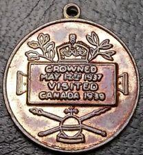 King George VI & Queen Elizabeth Crowned 1937 Visited Canada 1939 Pendant Medal