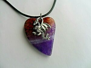 Unusual Dragon Vein Agate and Dragon Pendant Necklace   Reiki Healing GOT