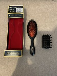 Mason Pearson B3 Handy Pure Boar Bristle Fine Hair Brush, Cleaner in Gift Box