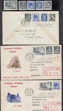 1954 #335/#343 4¢-15¢ QUEEN ELIZABETH II WILDLIFE & WILDING PORTRAIT ISSUE 3 FDC
