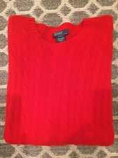 Polo Ralph Lauren 100% Cashmere Red Cable Crew Neck Sweater XL 18-20 $250