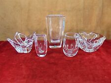 Lot Of 5 Collectible Sevres France Orrefors Kosta Etched & Clear Crystal Vases