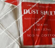 5 HEAVY DUTY 12' X 9' 100% COTTON TWILL PROFESSIONAL DECORATING LARGE DUST SHEET