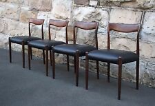 Set of 4 Vintage Danish dining chairs, blackwood and leather mid century modern