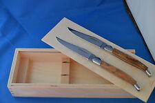 Laguiole de Baladeo : 2 Steakmesser m. Schalen aus Olivenholz - Klingen poliert